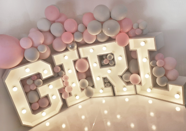 baby girl balloon garland light up lette