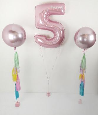 personalised pastel pink number balloons