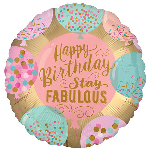 "Happy Birthday Stay Fabulous 18"" Foil Helium Balloon Gold Satin & pink"