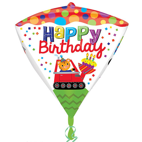 Bright & Colourful Happy Birthday Diamondz Digger Balloon 3D Diamond shape