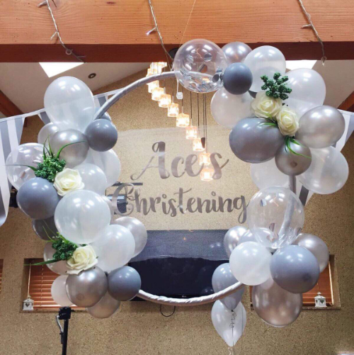 organic balloon hoop christening balloon