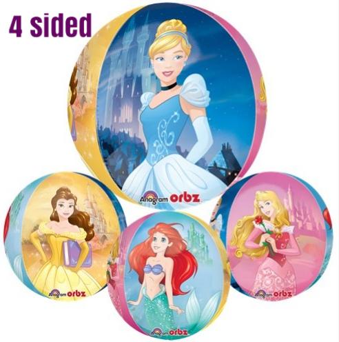 Disney Princess Balloon Orbz 4 Sided Helium - Aurora, Cinderella, Belle, Ariel
