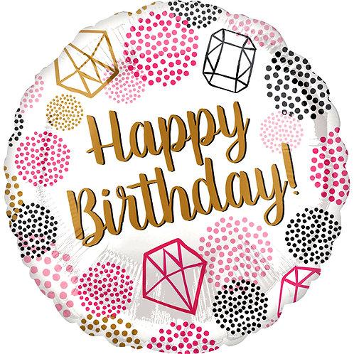 "Happy Birthday Geometric Diamond 18"" Foil Helium Balloon"