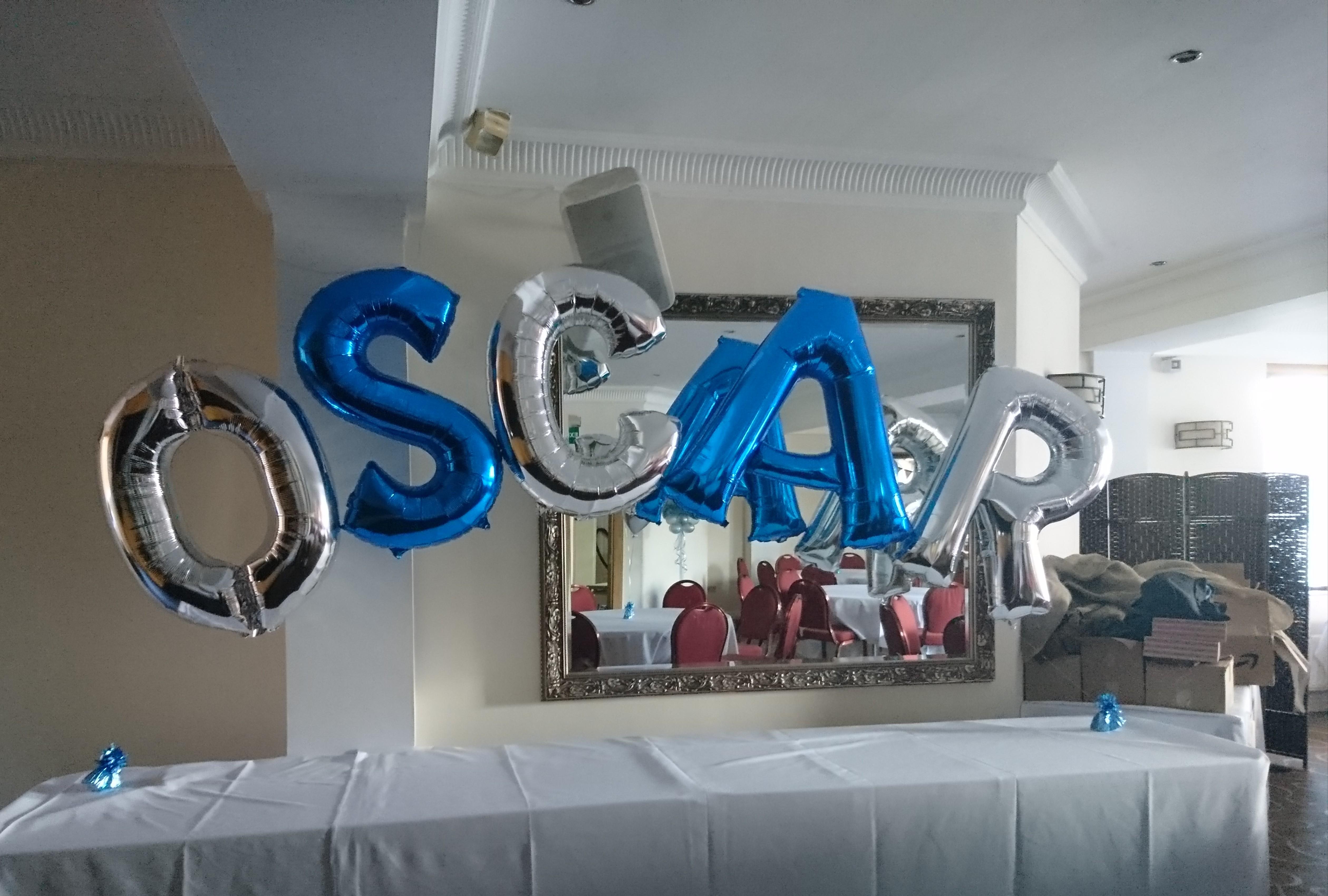 blue and silver name arch balloon ashton
