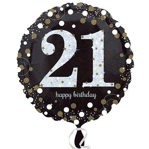 "Black Silver Gold Sparkling 21st 18"" Foil Helium Balloon"