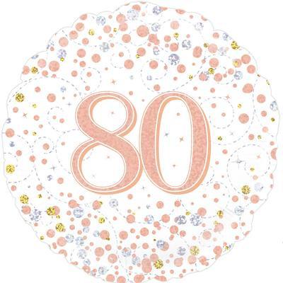 "White & Rose Gold 80th Birthday 18"" Foil Helium Balloon"