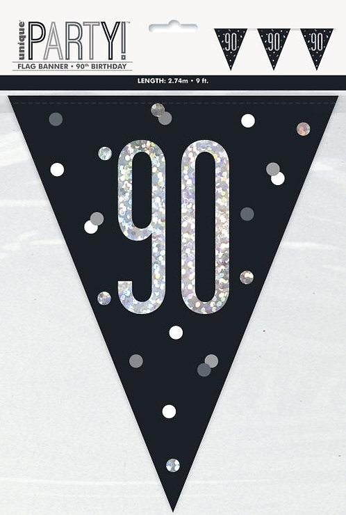 Black & Silver Holographic 90th Birthday Bunting 2.74m