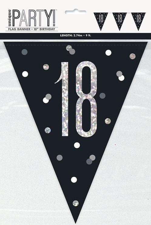 Black & Silver Holographic 18th Birthday Bunting 2.74m