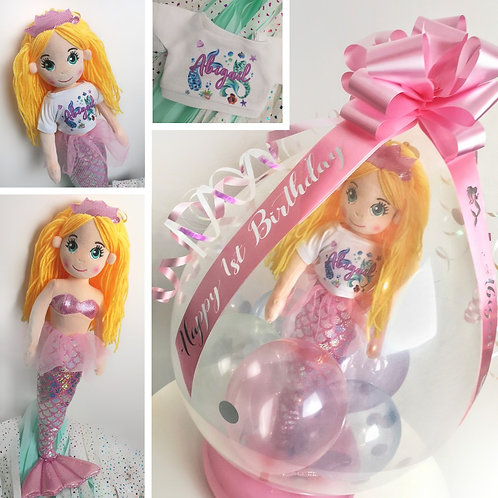 Personalised Mermaid Soft Toy Inside a Balloon
