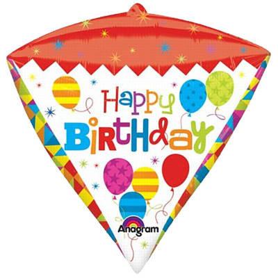 Bright & Colourful Happy Birthday Diamondz Balloon 3D Diamond shape