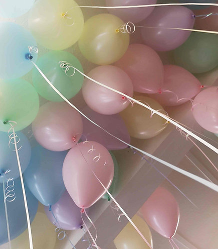 "Individual Latex 11"" Balloon & ribbon-Standard & Pearl Colours, Ceiling Balloons"
