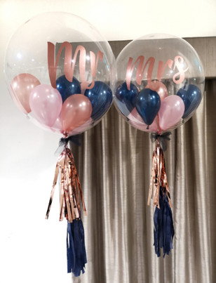 mr and mrs rose gold and navy bubble bal