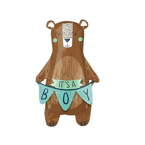 "Baby Boy Balloon Bear Shaped ""It's a Boy"" foil Supershape balloon"