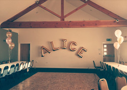 rose gold name balloon arch glossop