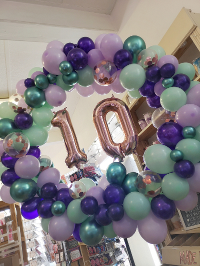 freestanding organic balloon hoop number