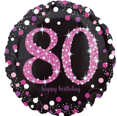 "Black & Hot Pink Sparkling 80th Happy Birthday 18"" Foil Helium Balloon"