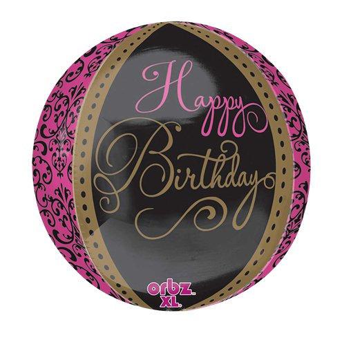 Happy Birthday Black, Hot Pink & Gold Damask Orbz Helium Balloon Round