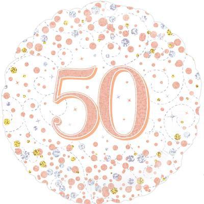 "White & Rose Gold 50th Birthday 18"" Foil Helium Balloon"