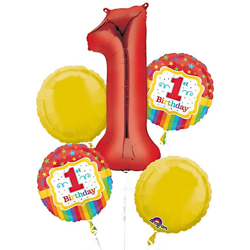 1st Birthday Balloon Bouquet Red/Yellow 5 x Helium Foil Balloon Bunch