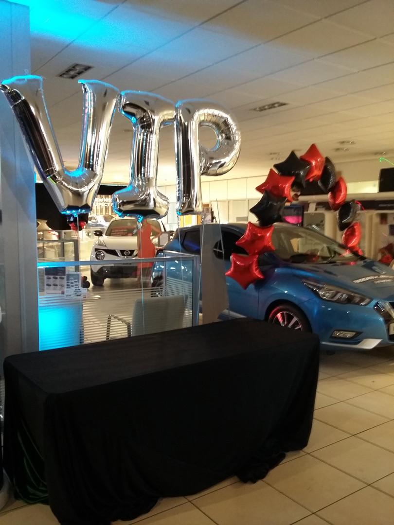 letter balloons arch car showroom promot