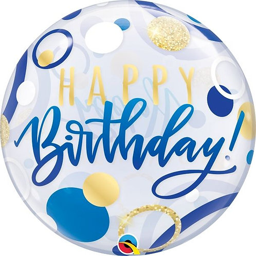 """Happy Birthday Bubble Balloon Clear, Blue, White & Gold Circle Helium filled 22"""""""