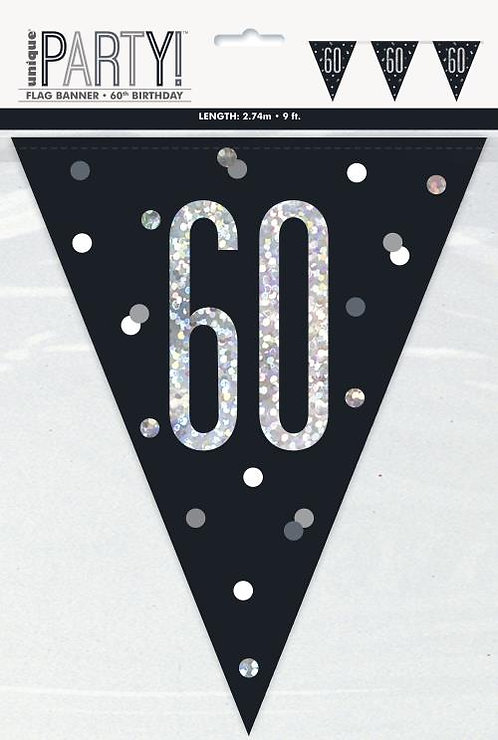 Black & Silver Holographic 60th Birthday Bunting 2.74m