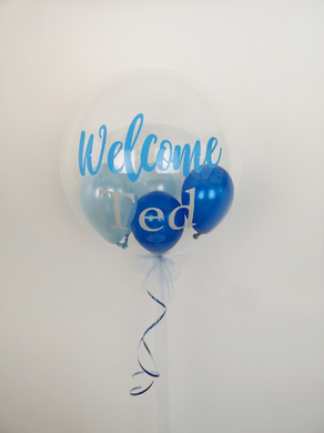 welcome baby personalised bubble balloon
