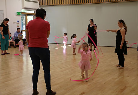 Ribbons and props pre-school ballet fun with Melody Bear