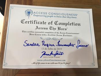 Certificado Curso de Formação em Barras de Access