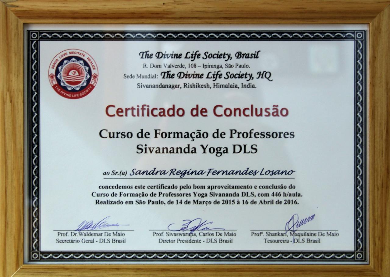 Certificado Curso de Formação de Professores Sivananda Yoga DLS