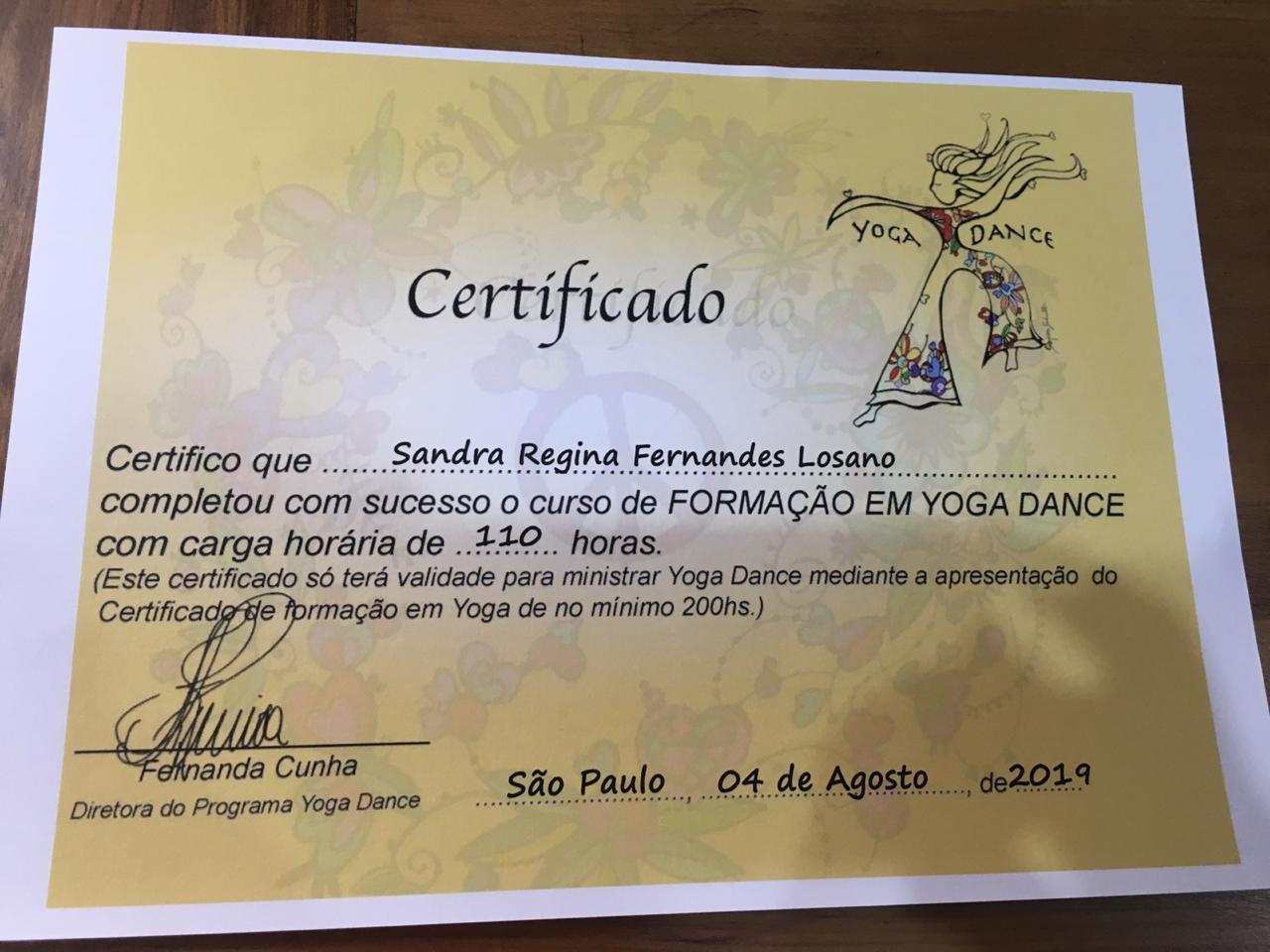 Certificado Curso de Formação em Yoga Dance