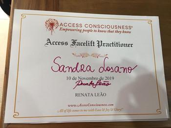 Certificado Curso de Formação como Access Facelift Practitioner