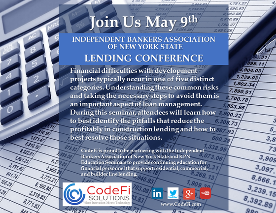 CodeFi to conduct seminar at the Independent Bankers Association of New York State on May 9th.