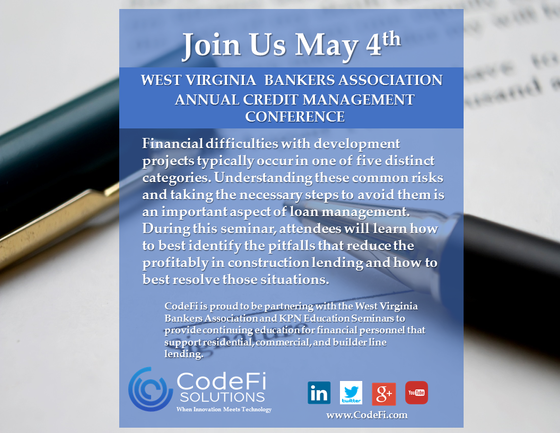 CodeFi to conduct seminar at the West Virginia Bankers Association May 4th.