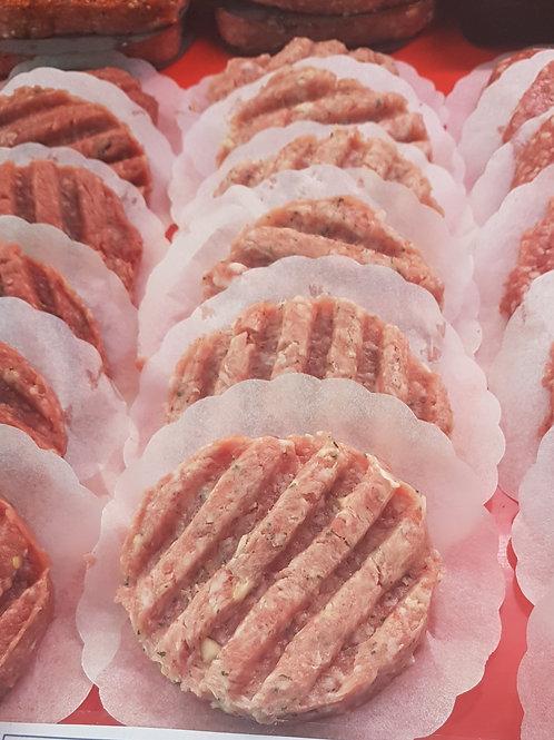 1/4 lb Pork & apple burger x 4