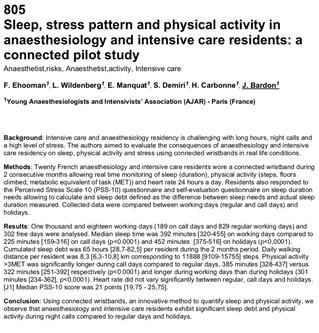 Fatigue, activité physique, stress chez les internes d'AR : présentation de l'AJAR à l'E