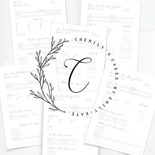 Chemily's Cakes' Order Forms Whole Collection