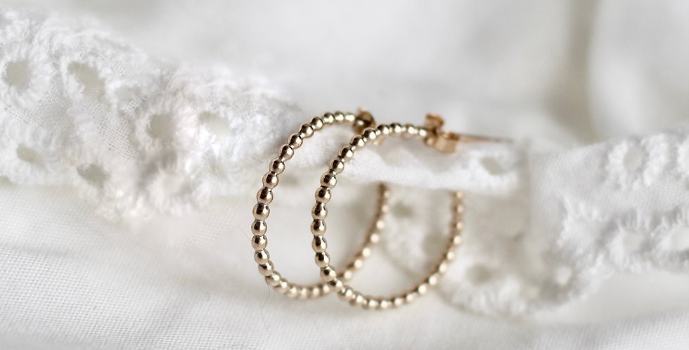 The Beaded Hoop    9ct Gold