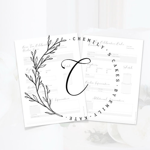 Chemily's Cakes' Order Forms Celebration Collection