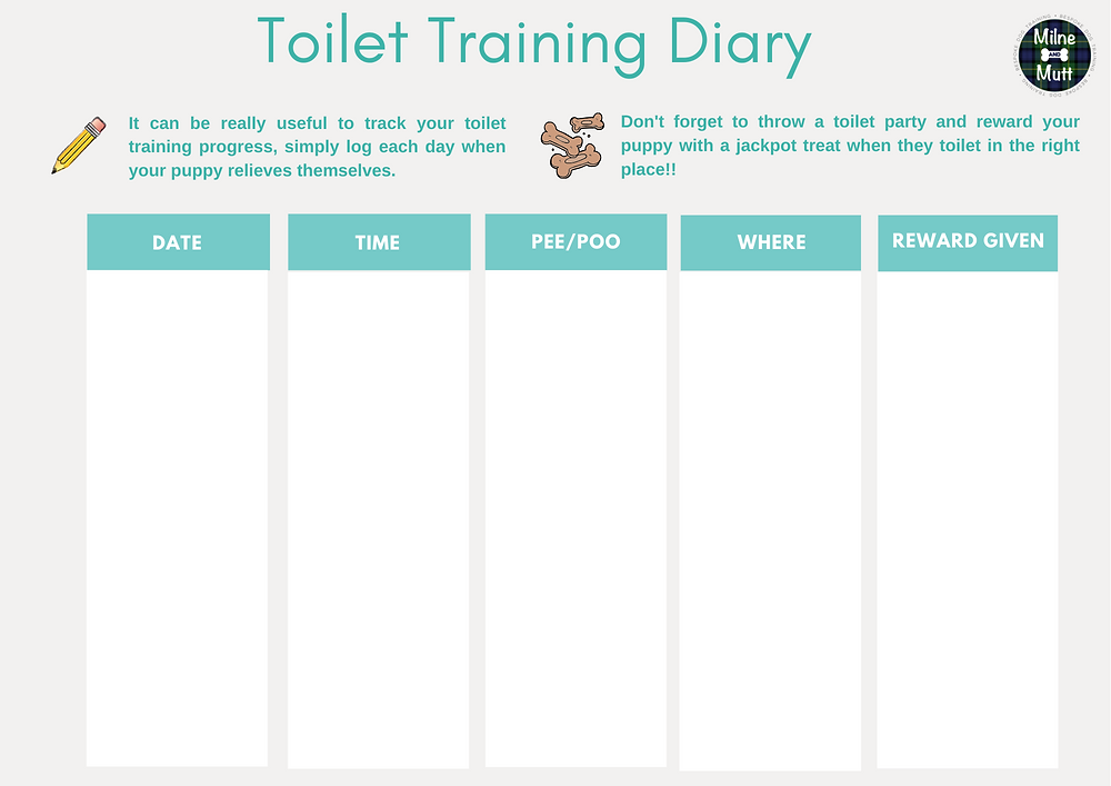 A diary to track your puppy's toilet training progress