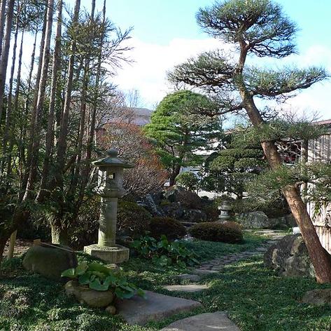 玄関前の建仁寺垣を作り直し飛石と石畳を並べなおす前の写真です。