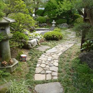 以前あった石を再利用し、大きな石を増やして並べなおしました。
