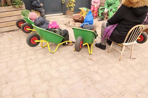 シュタイナー幼稚園の園庭で。