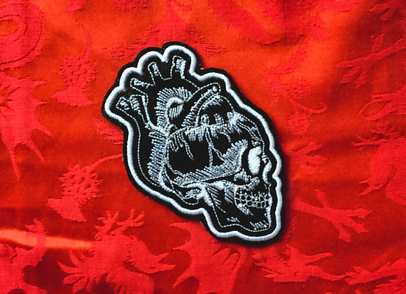 Heart Skull Patch-White