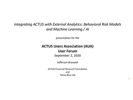 Integrating ACTUS With External Analytics: Behavioral Risk Models And Machine Learning / AI