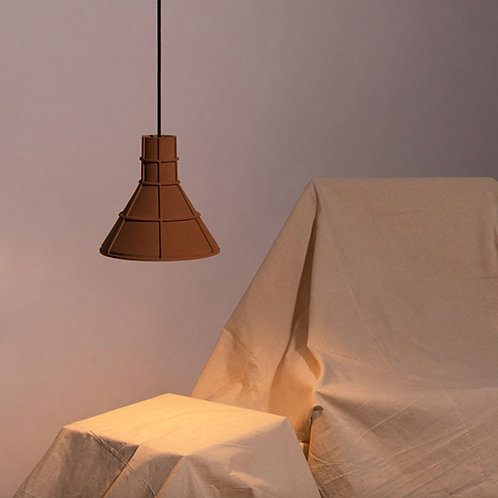 Cone Shape Earth Tone Cement Ceiling Lamp