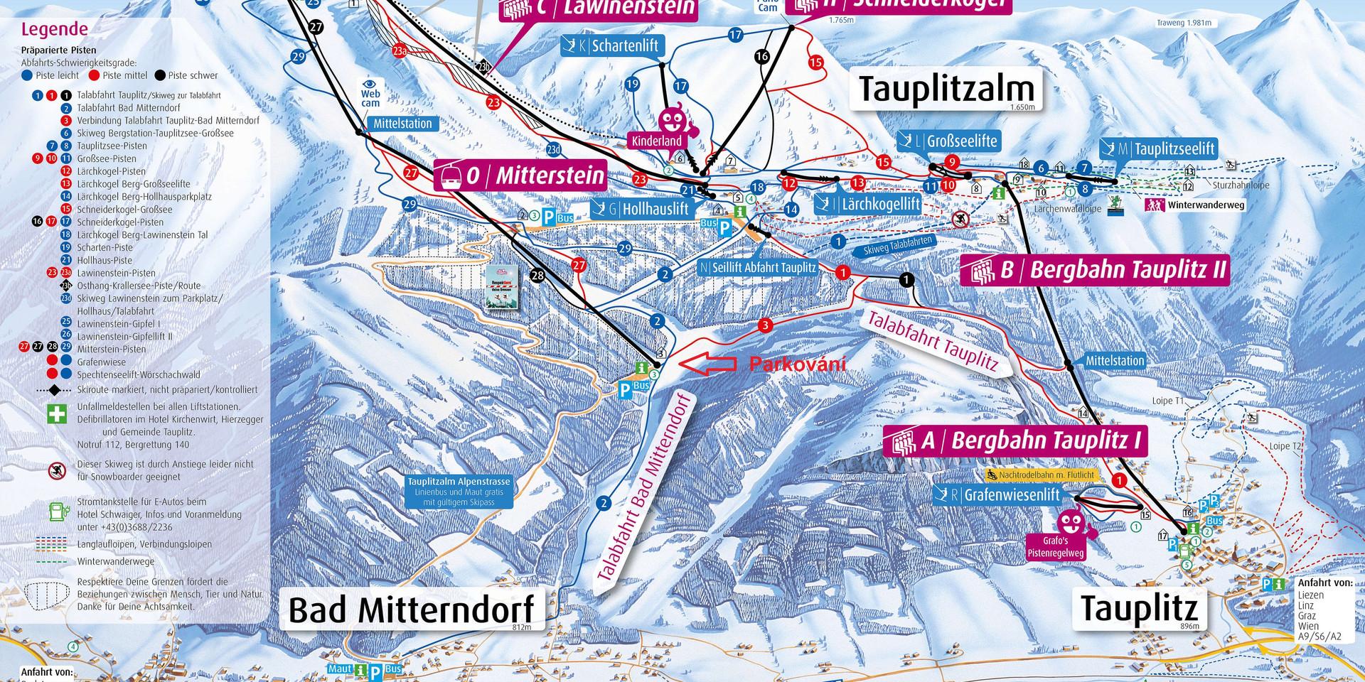 Bad Mitterndorf Tauplitz dobré parkování