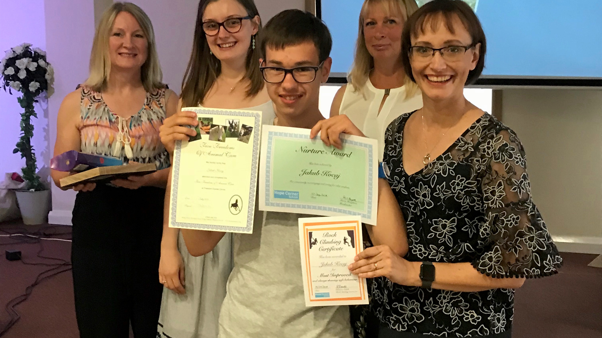 Theresa Worrall (right), one of our school governors, presenting awards to one of our school leavers.