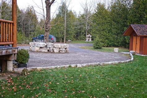 Gravel Driveway with Center wall