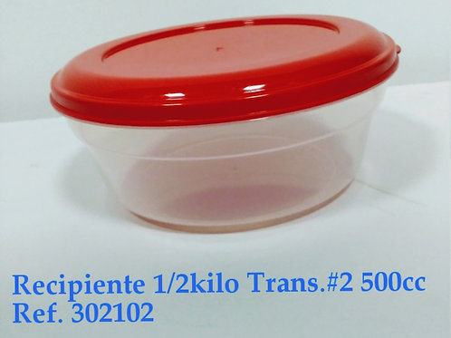 Recipiente 1/2 Kilo Transparente # 2  500 cc